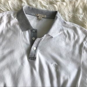 Burberry Men's White Polo Shirt Gray Collar